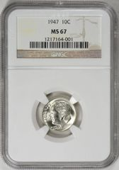 1947 Roosevelt 10c NGC MS67 great value 395 RP