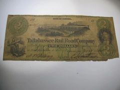 1866 $2 Tallahassee RailRoad Co VG details