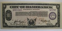 1934, Feb 15, Series C, $10 City of Hamtramck