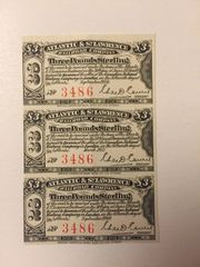 1875 Atlantic and St. Lawrence Railroad Company 3# Bond Interest Coupons
