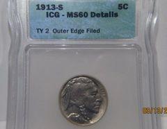 1913S T2 Buffalo 5c PCGS-Unc Details, good strike, luster, eye appeal