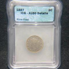 1887 Liberty 5c ICG-AU50 details, rims filed