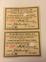 1905 City of Butte, Montana $22.50 Bond Interest Coupons