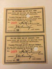 1905 City of Butte, Montana $22.50 Bond Interest Coupons