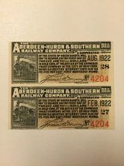 1908 Aberdeen-Huron & Southern Railway Company $12.50 Bond Interest Coupons
