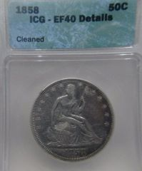 1858 Seated Liberty 50c ICG-XF40 details cleaned