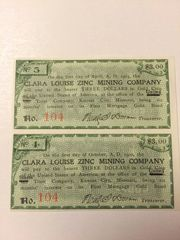 1900 Clara Louise Zinc Mining Company $3 Bond Interest Coupons