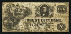 1837 $10 Forest City Bank R5 spurious