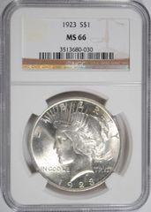 1923 $1 PCGS66 GEM coin