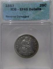 1857 Seated Liberty 25c ICG-AU45 Details