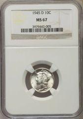 1945D Gem MS67 Mercury Dime