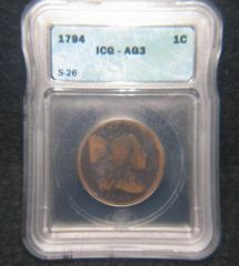 1794 Large Cent, S-26 ICG AG-3
