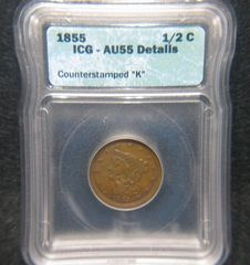 1855 1/2 Cent, ICG-AU55 details Counterstamped