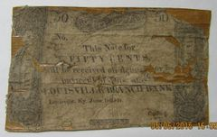 1815 Louisville Branch Bank, Bank of KY 50 Cents....great rarity