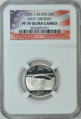 "2005-S West Virginia 25c NGC PF70 Ultra Cameo ""the Mountaineers"""