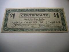 1933 $1 Clarinda ChofC XF-AU