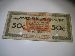 1933 50c OR Heppner Sheepskin Scrip