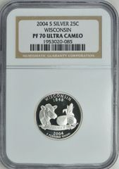 """2004-S Wisconsin 25c NGC PF70 Ultra Cameo """"Go Pack Go"""""""