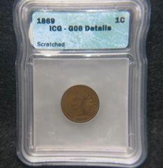 1869 1c ICG G6 Details Scratched