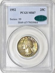 1952 Washington 25c, Superb Gem Toned 1952 PCGS MS67 CAC