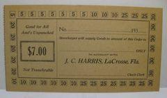 1933 $7 JC Harris LaCrosse, FL