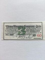 1908 Elkins Brewing Company $30 Bond Coupon Scrip Elkins WVA Pre-Prohibition