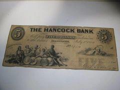 1854 $5 The Hancock Bank, Ellsworth