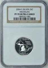 2004-S Michigan 25c NGC PF70 Ultra Cameo Ultimate Quality