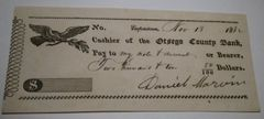 1832, 1835 Check Otsego County Bank COOPERSTOWN, NY