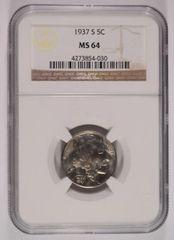 1937S Buffalo 5c NGC MS64