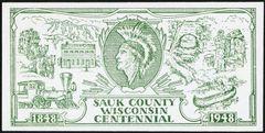1848-1948 Baraboo, WI- Sauk County Wisconsin Centennial Scrip $1