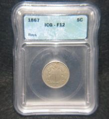 1867 Rays Shield 5c ICG-F12