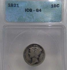 1921 Mercury 10c ICG-G4