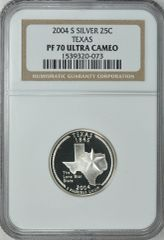 """2004-S Texas 25c NGC PF70 Ultra Cameo """"Lone Star State"""""""
