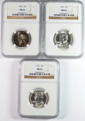 1956 WASHINGTON QUARTERS NGC MS65 GEMS