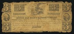 1837 $3 Monroe RR & Banking Co, Macon, GA vscarce