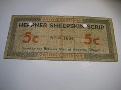 1933 5c OR Heppner Sheepskin Scrip