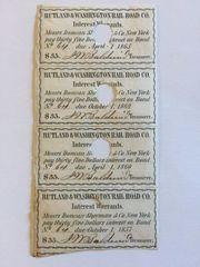1852 Rutland & Washington Railroad Company $35 Bond Interest Coupons