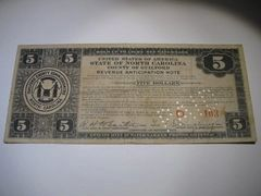 1933 $5 Guilford Co. Tax Anticipation Note
