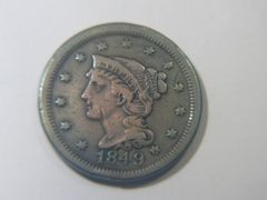 1849 Braided Hair Large Cent VF details