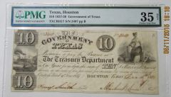 1838 $10 Government of Texas PMG VF35 net rare note