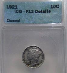 1921 Mercury 10c ICG-F12 Details Cleaned