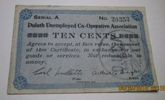 1933 10c Duluth Unemployed Co-Operative Assocation very scarce