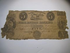 1858 $5 Real Estatee Banking, Wetumpka