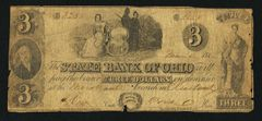 1848 $3 State Bank of Ohio, Cleveland, rare note