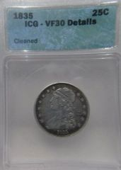 1835 Capped Bust 25c ICG-VF30 Details Cleaned