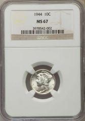 1944 Gem Mercury Dime, MS67