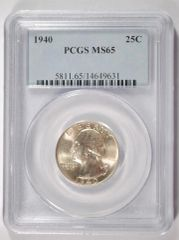 1940 Washington 25c PCGS MS65