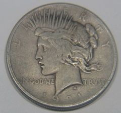 1921 Peace Dollar, key date, F15