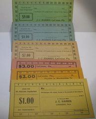 1933 JC Harris Lacrosse, FL set of 6 different $1,2,3,7,8,9